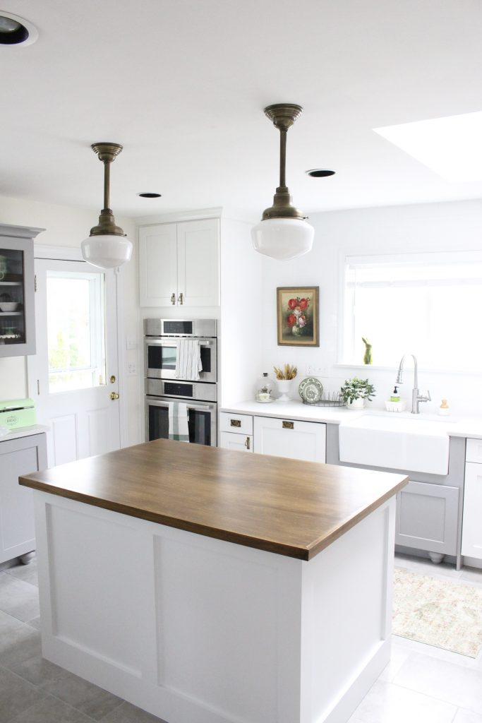 Schoolhouse Lighting and Custom Island | White Cottage Home ...