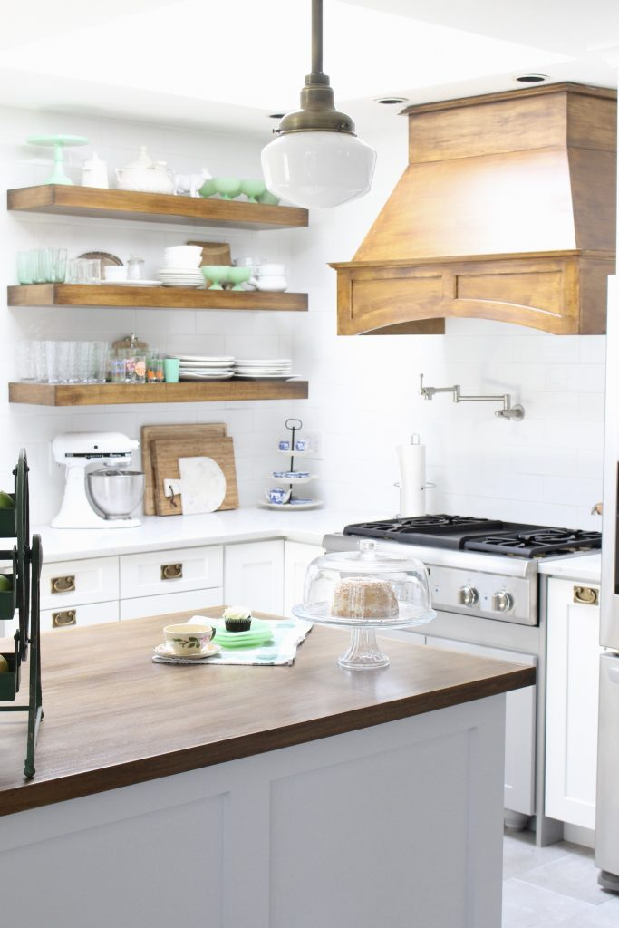 White- Cottage Kitchen- Renovation- Reveal- kitchen design- kitchen decorating ideas- kitchen decor ideas- room design- home decor- design- open shelving- custom island- white cabinets- professional appliances- DIY- Do it Yourself- wood range hood- cottage design- farmhouse kitchen- gray cabinets- island with open shelving