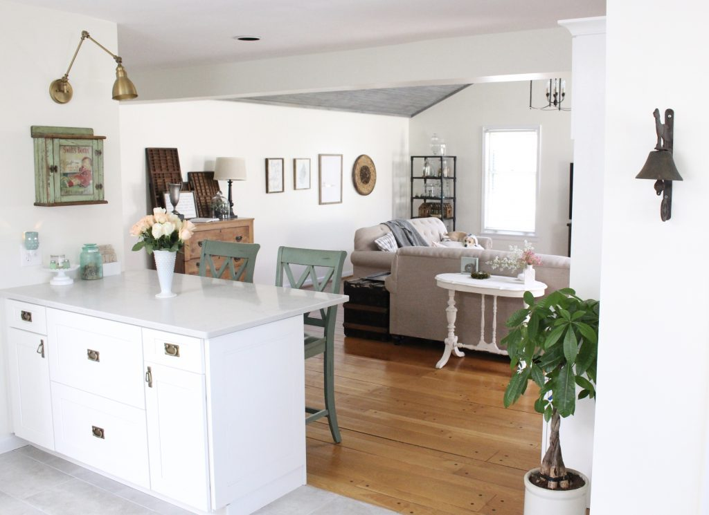 White- Cottage Kitchen- Renovation- Reveal- kitchen design- kitchen decorating ideas- kitchen decor ideas- room design- home decor- design- open shelving- custom island- white cabinets- professional appliances- DIY- Do it Yourself- wood range hood- cottage design- farmhouse kitchen- gray cabinets- Thermador professional range with griddle- peninsula with stools