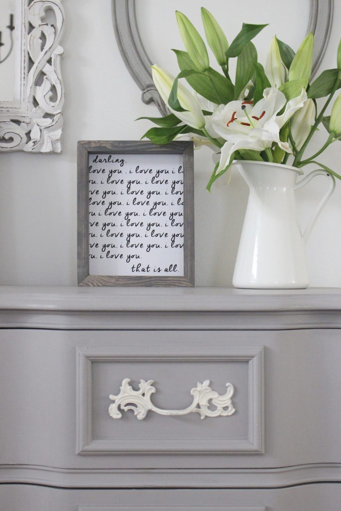 painted furniture- Deco Art- Artifact- home decor- DIY projects- gray painted dresser- master bedroom decor- bedroom design- cottage style- room decor ideas- white bedroom- farmhouse style- Sincerely US Shop- art- i love you art