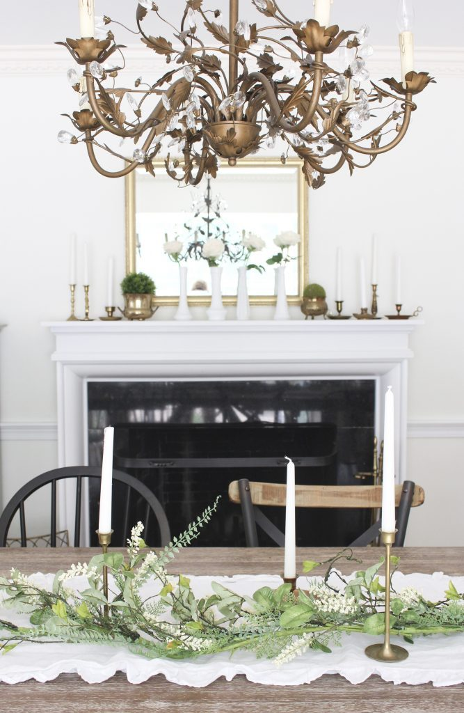 Summer mantel- mantle decor- home decor- antique brass- candlesticks- milk glass- dining room decorating- dining room decor- DIY- farmhouse dining room- french country dining room- fireplace decor- summer decorating- decoration ideas- room design- antique brass chandelier- Ballard Designs