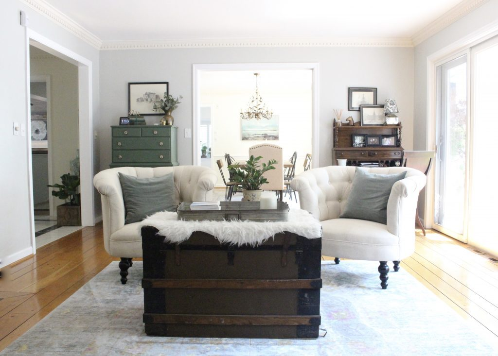 A multifunctional- living room- office- room design- tour- A wood dresser painted green- Amy Howard paints- One step paint- green- Cherbourg- how to use chalk paint- chalk painted finish- green furniture- how to paint furniture- home design- DIY- Do it Yourself project- painted furniture- crystal knobs- gray walls- antique pieces- secretary desk
