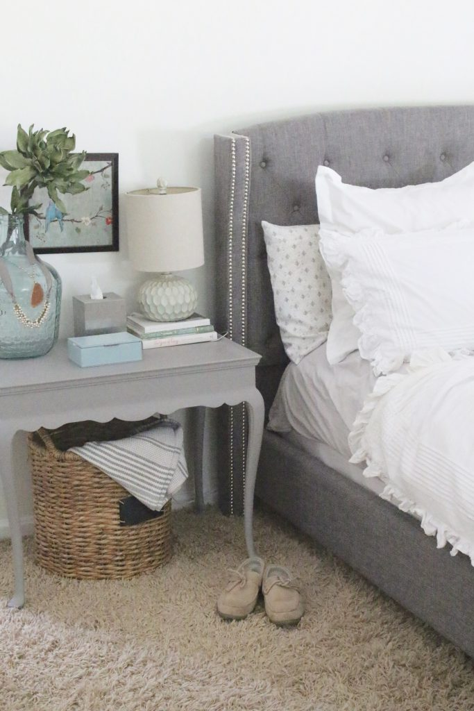 A light & Airy summer- bedroom- bedroom decor- bedroom ideas- bedroom decorating- master bedroom decor- home design- room design- painted furniture- shabby chic interior- design- white decorating ideas- painted nightstand- chalk paint- Deco Art