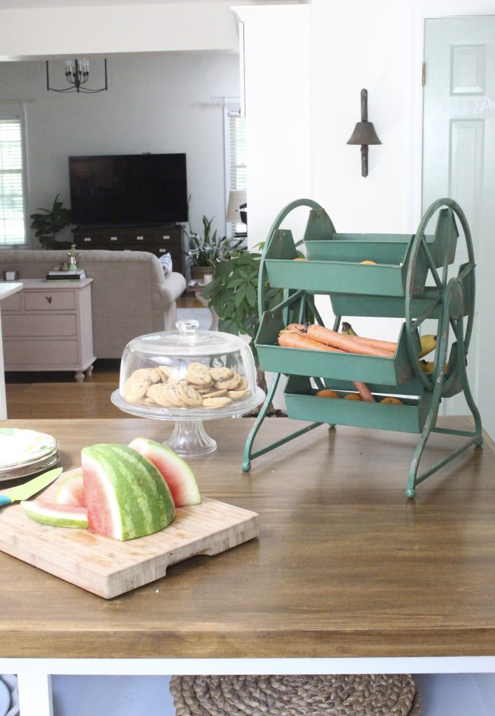 White Cottage Kitchen Renovation Reveal- kitchen renovation- remodel-kitchen reveal- cottage kitchen- white cabinets- vintage- green- wood countertops- cottage style- kitchen decor- kitchen design