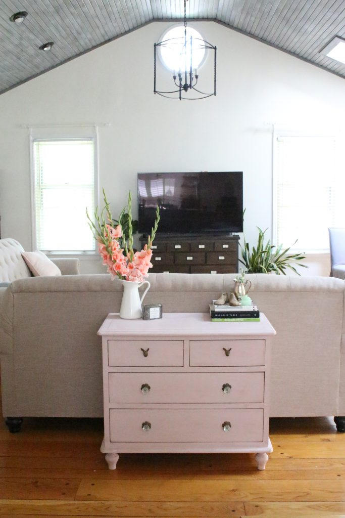 Pink paint- dresser- thrift store furniture- Annie Sloan- chalk paint- shabby chic- painted furniture- antique brass pulls- knobs- living spaces- home design ideas- decor ideas- painted ceiling- farmhouse style- living room- family room- decorating
