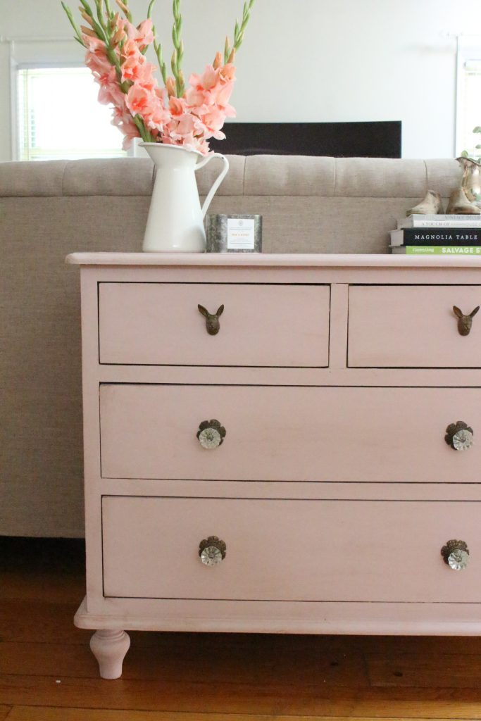 Pink paint- dresser- thrift store furniture- Annie Sloan- chalk paint- shabby chic- painted furniture- antique brass pulls- knobs- living spaces- home design ideas- decor ideas- painted ceiling- farmhouse style- living room- family room- decorating- crystal knobs