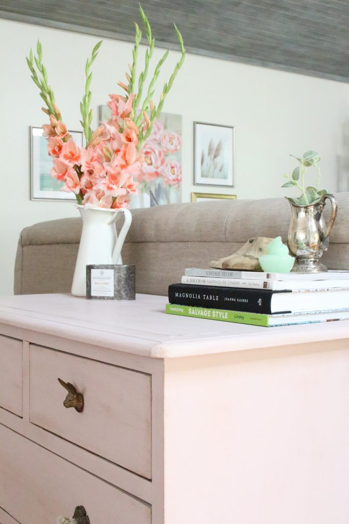 Pink paint- dresser- thrift store furniture- Annie Sloan- chalk paint- shabby chic- painted furniture- antique brass pulls- knobs- living spaces- home design ideas- decor ideas- painted ceiling- farmhouse style- living room- family room- decorating- flowers