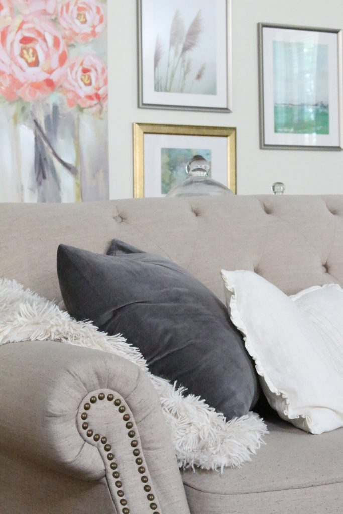 Fall pastels in our family room- pastel colors- neutrals- decorating for fall with pastel- seasonal decor- fall- autumn- living space- room design- wall decor- fall decor- pink- green- gray for autumn- decorating- decor ideas- non traditional colors for fall- velvet pillow covers