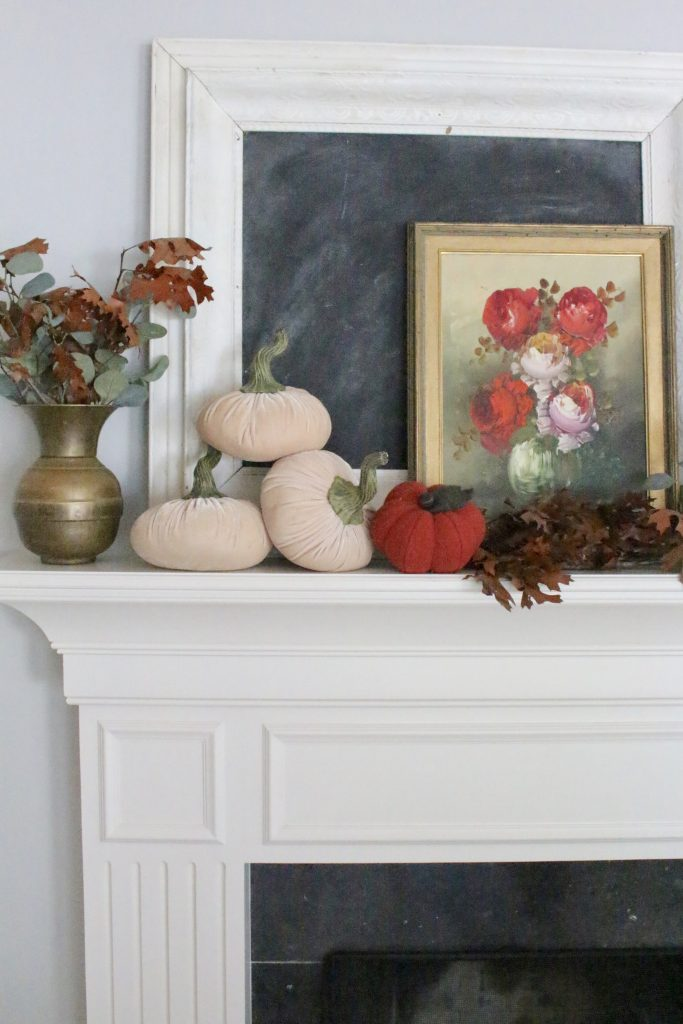 A vintage fall mantel- vintage- fall- classic- mantel- brass- fall decor- fall decorating- mantle- brass animals- velvet pumpkins- room design- mantel decor- decorating your mantel for fall- classic autumn decor- oil paintings- black tray- fireplace decor- seasonal- library- office- antique brass
