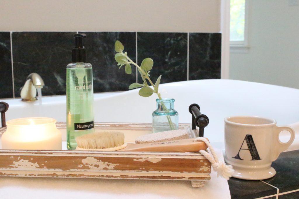 Neutrogena Rainbath at Walgreens- pampering yourself- bath and shower gel- bathroom tray- new bath product- Walgreens- Rainbath- creating a spa tray