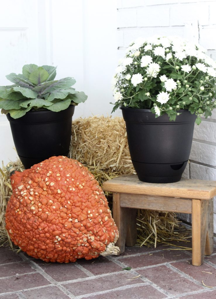 White brick ranch home- fall decor- decorating a small porch for fall- cottage home- outdoor decorating- home design- autumn decor- pumpkins- mums- front porch- handmade wreath- decorating with black and white- hay bales, small fall vignette