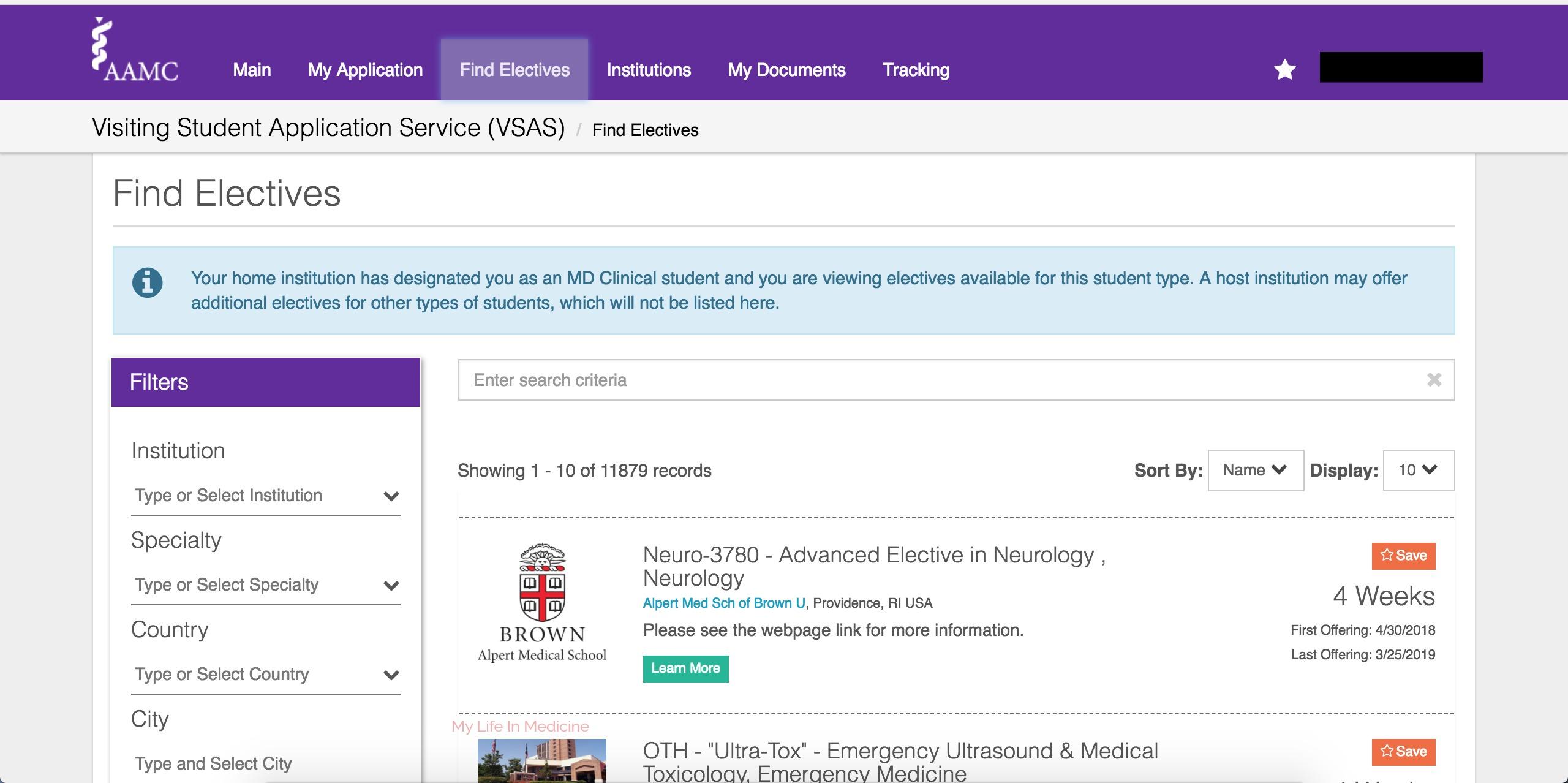 VSAS Elective Search