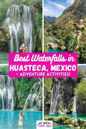 Alerta de joia escondida! Existe um lugar chamado Huasteca no México que é um paraíso de cachoeira! Cercado por uma selva exuberante e ambientes tranquilos, você pode visitar cinco ou mais cachoeiras em Huasteca, além de fazer toneladas de aventuras de adrenalina como tirolesa, rapel, rafting e até mesmo andar de bicicleta em uma tirolesa! Salve esta postagem se você planeja visitar o México no futuro e quer ir para um lugar fora do caminho turístico batido! #mexico #huasteca #waterfalls