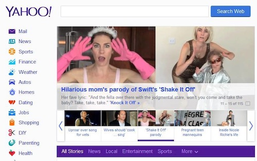 On Yahoo's homepage. Which according to my husband is a big deal. I live under a rock so I had no idea.