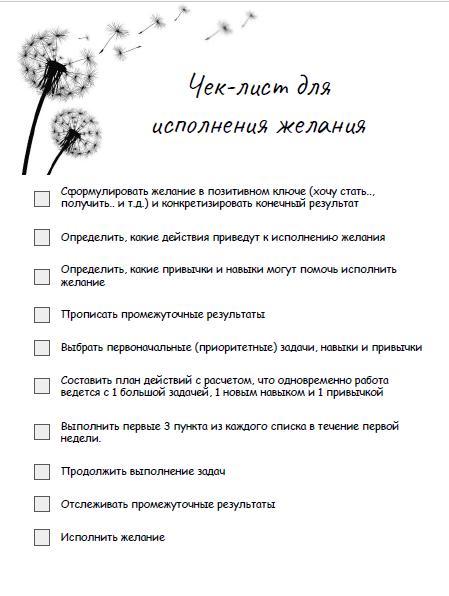 Чек лист исполнения желания I Блог Переменам Быть!