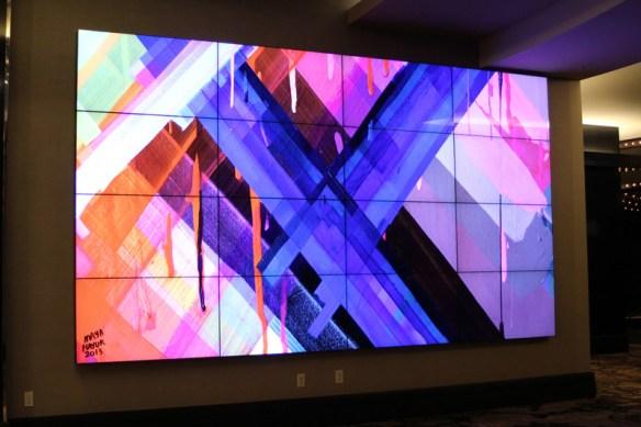 LCD screens displays different artwork