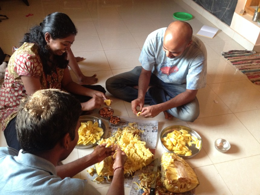 Sathya,Satish,Vicknes and I in the process of cleaning the jackfruits for making Chakka varatti
