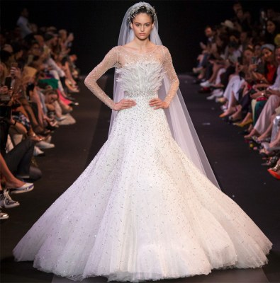Wedding dress with feathers