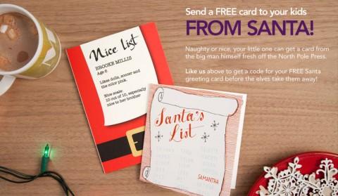 FREE Santa Card From Treat Mailed Free