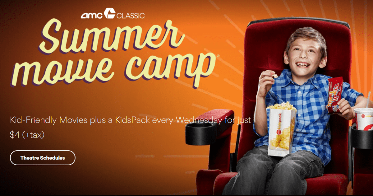 AMC Theaters Summer Movies for Kids 4 Includes Snacks  Drink
