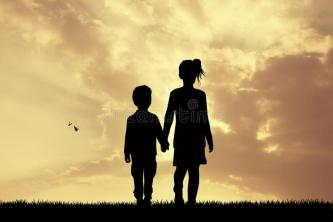 children-silhouette-sunset-illustration-66998365