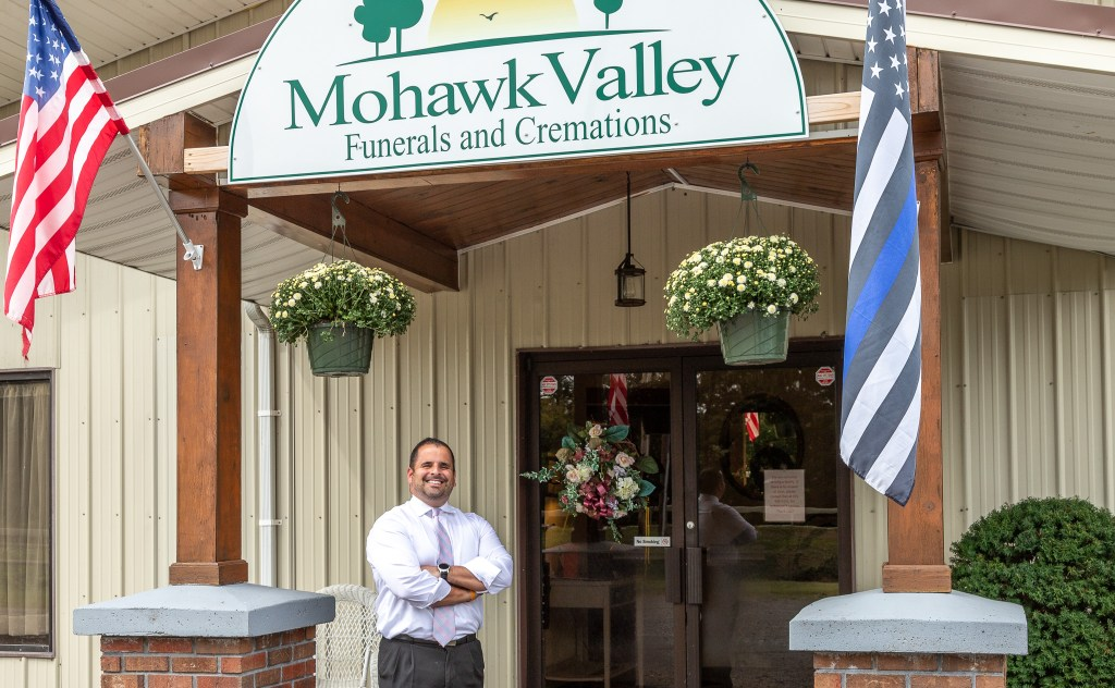 Photo by Dave Warner - Daniel J. Enea in front of his business, Mohawk Valley Funerals and Cremations.