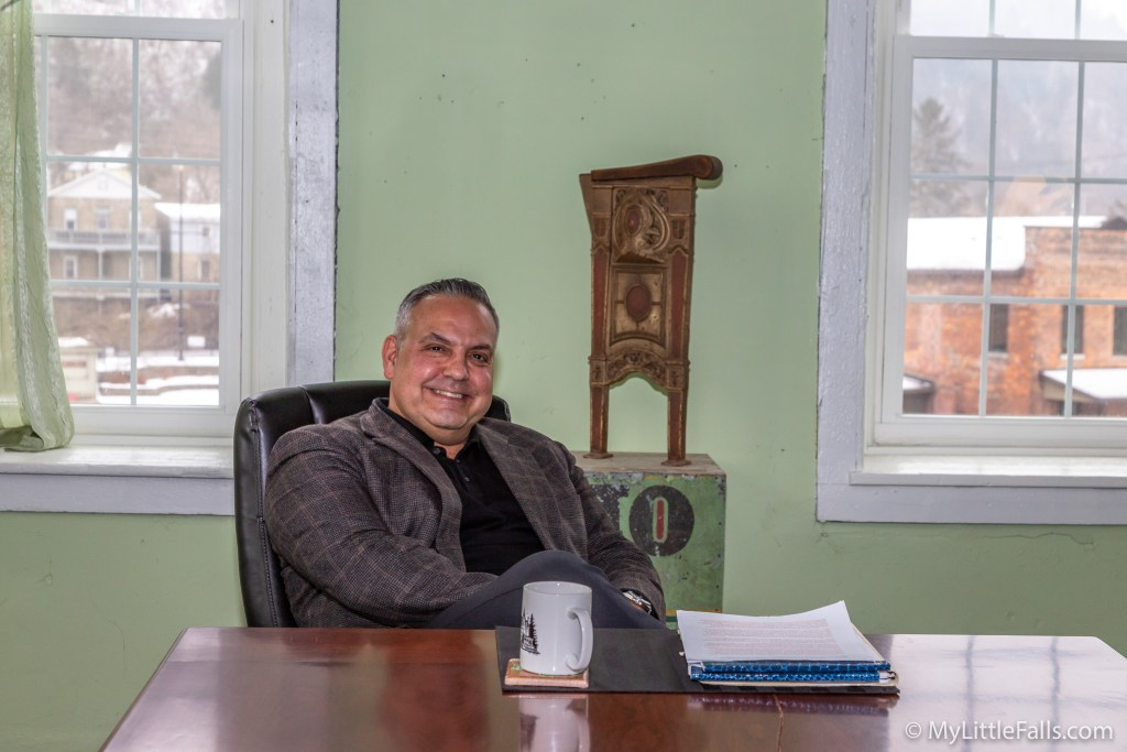 Photo by Dave Warner - David Casullo takes a break in the conference room of the Inn at Stone Mill.