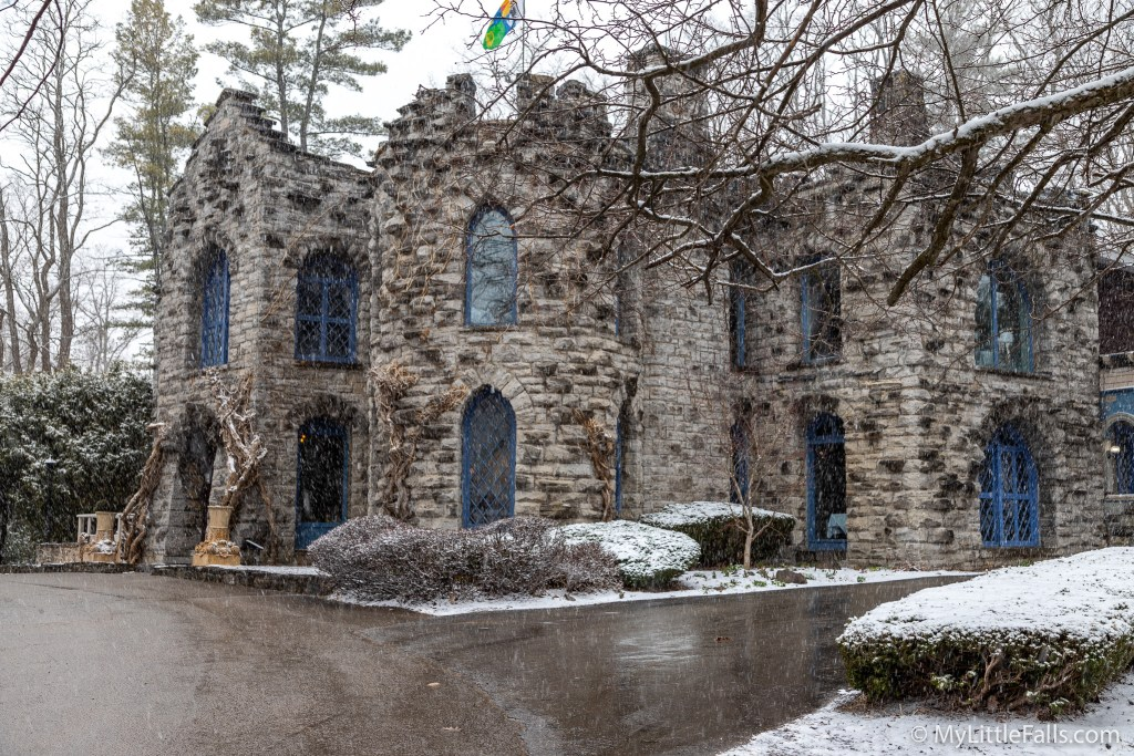 Photo by Dave Warner - Beardslee Castle as it stands today during a spring snowstorm.
