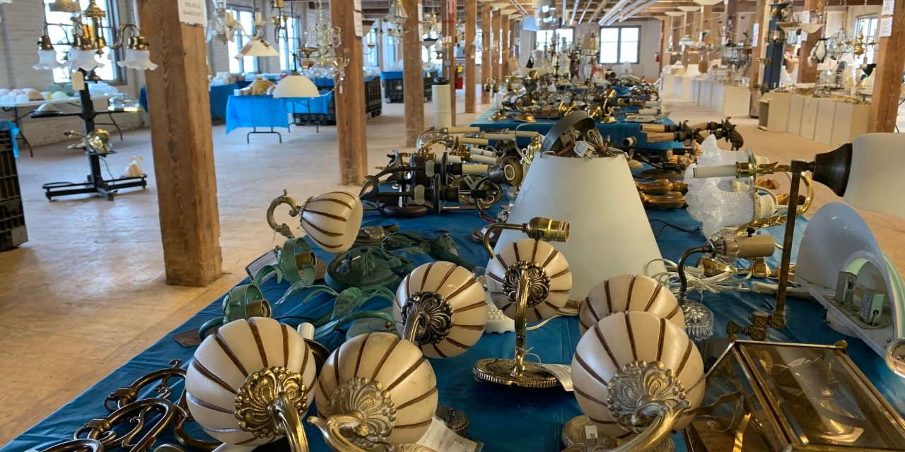 Arc Herkimer Goods Store Holding Vintage Lamp & Light Sale