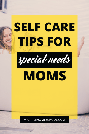 Self care tips for special needs moms and a woman sitting in large white bath with clothes on and holding a book while smiling at the camera