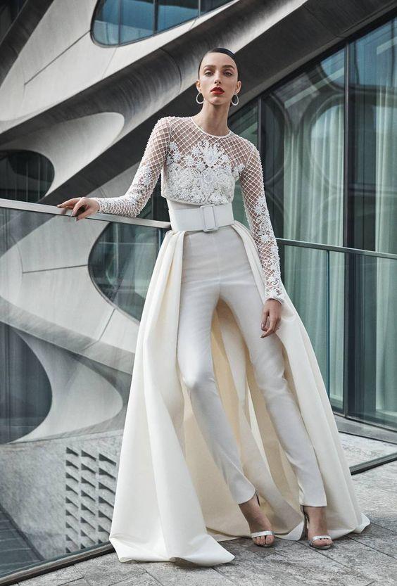 Vestido de novia con pantalón Naeem Khan