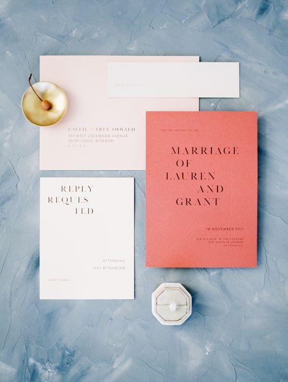 invitación de boda en color living coral pantone 2019
