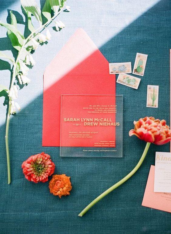 invitación de boda living coral pantone 2019