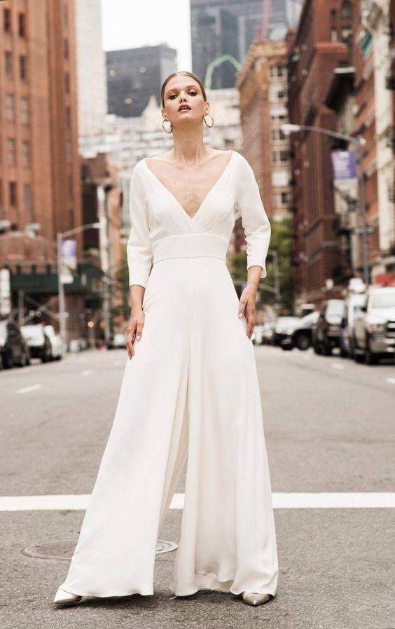 vestidos de novia con pantalon palazzo Andrea Hawkes