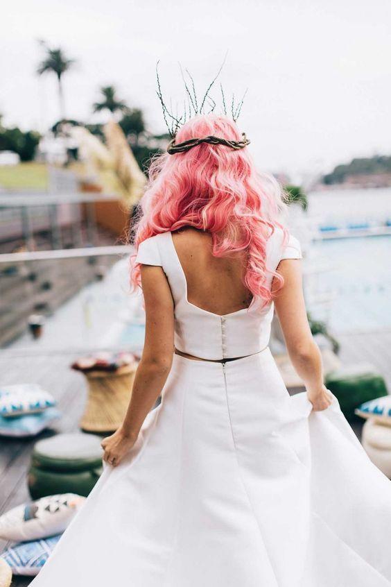 Novias con el pelo de colores fantasía