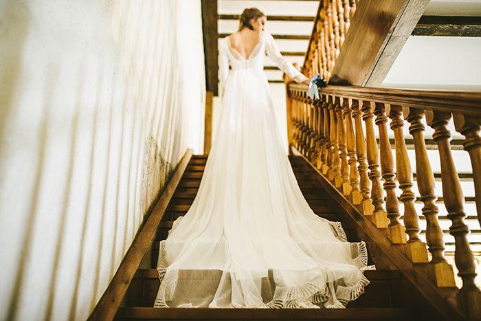 Vestido de novia con cola