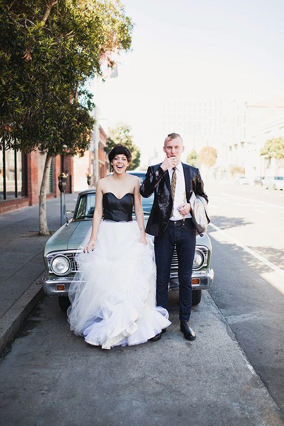 vestido para novia con cuero