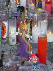 A curbside shrine to murder victims. A $2000 reward is promised for tips leading to perpetrator's arrest (152nd).