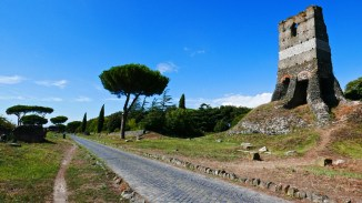 Via Appia with Medieval Fortress