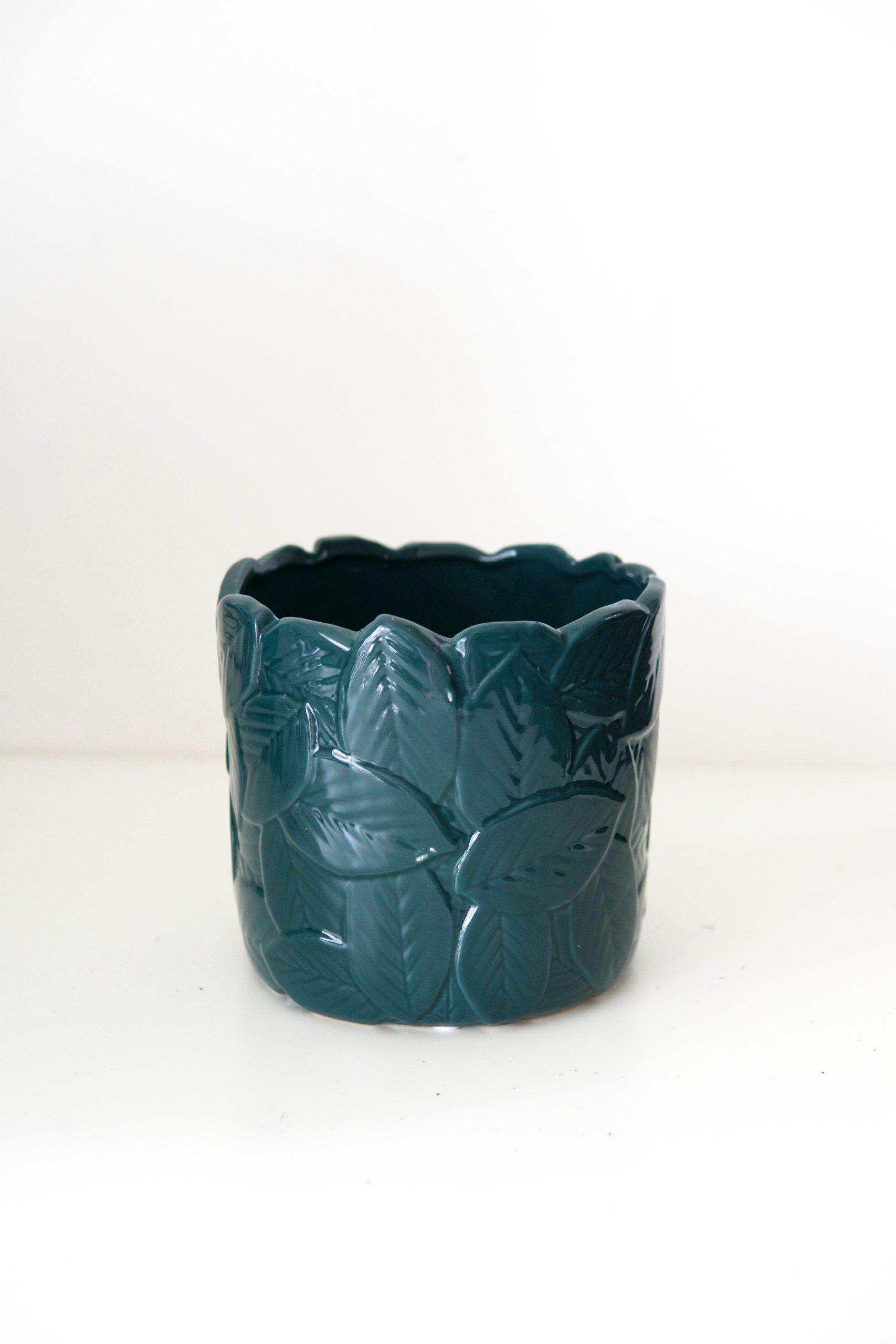 cache pot bleu leaves o 10 12 15 cm