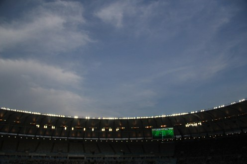 When the game ended it was getting dark.