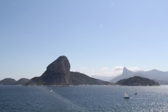 Sugar Loaf's back on the left, and Cristo Redentor on the right