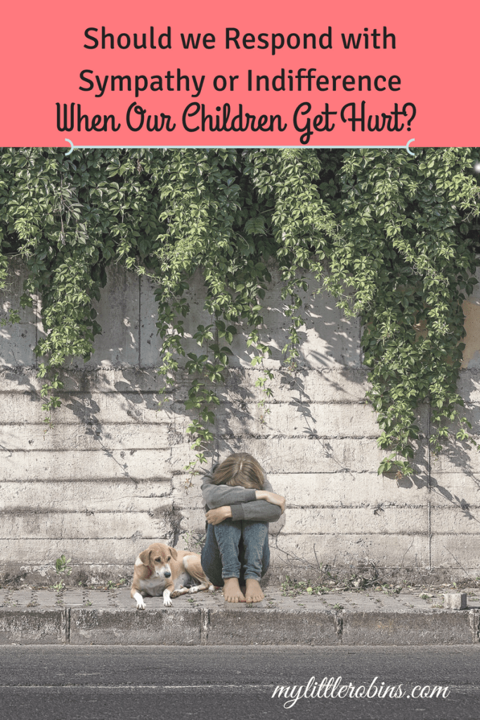 How do you respond when your child is hurt? Do you rush to them, or let them be?