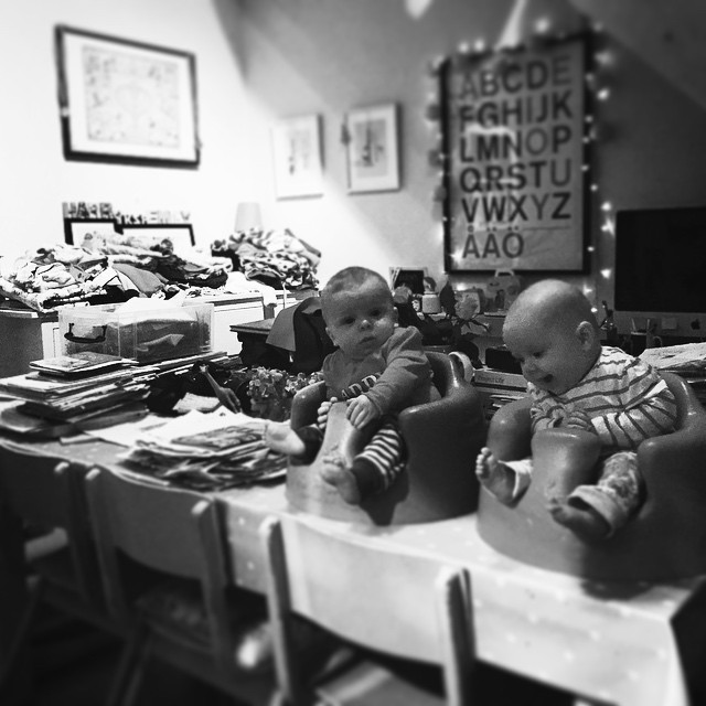 14/365 Paperwork. Laundry. Mess & happy (ish) babies. Pretty much my life right now. This was once my dining room.