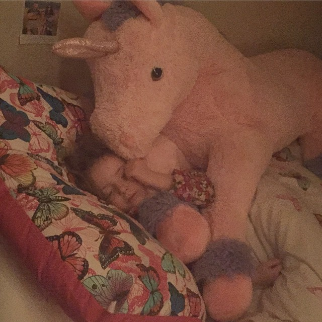 35/365 WIDN: Thanks to @missbettyandme, I remembered to do my 365 last minute. This girl loves her giant unicorn.