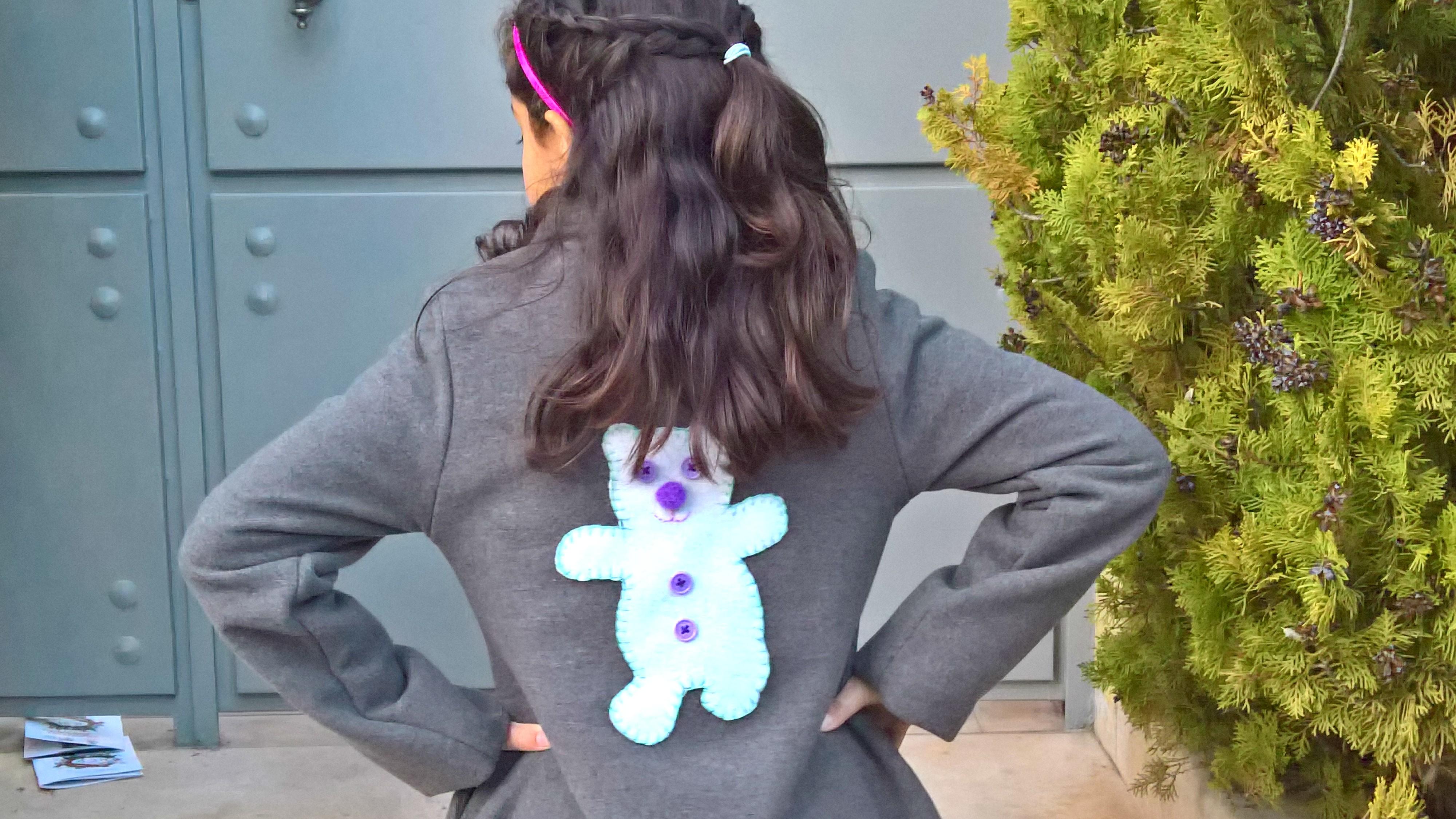 διακοσμώ το παιδικό παλτό με τσόχινο αρκουδάκι