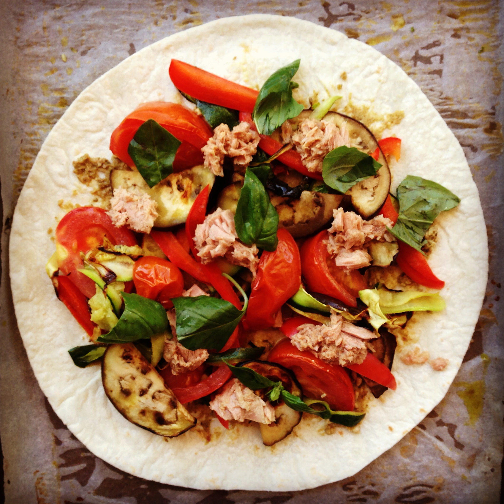 tuna & roasted mediterranean vegetable pizza - my lovely ...