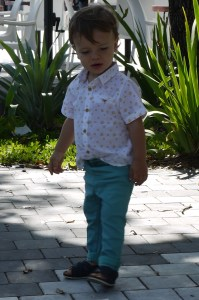 turquoise pants + leather sandals baby boy by Mylovelypeople