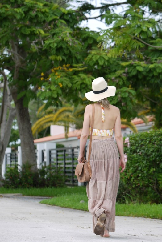 Wrap skirt + knit with gladiator sandals