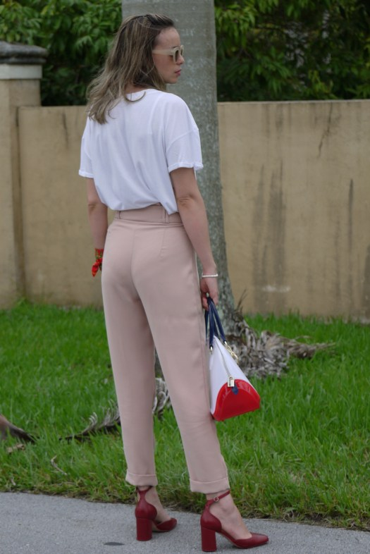 high waist pants + ankle shoes + PVC bag by mylovelypeople
